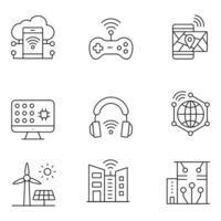 ícones de linha fina de cidade inteligente vetor