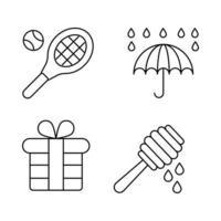 ícones de linha fina de primavera vetor