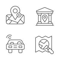 ícones de linha fina de mapa e navegação vetor