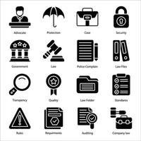 conjunto de ícones de glifo de lei e justiça vetor