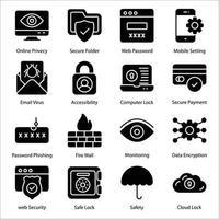 conjunto de ícones de glifo de segurança vetor