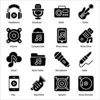 conjunto de ícones de glifo de música vetor