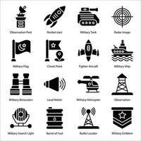 conjunto de ícones de glifos militares vetor