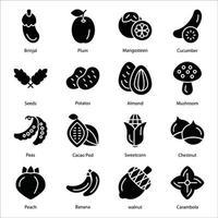 conjunto de ícones de glifo de frutas e vegetais vetor