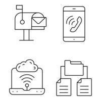 ícones de linha fina de rede e comunicação vetor