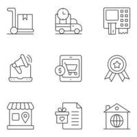 ícones de linha fina de compras móveis vetor