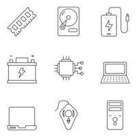 ícones de linha fina de tecnologia e hardwear vetor