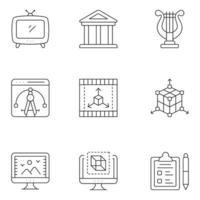 ícones de linhas finas de design e criatividade vetor