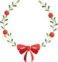guirlanda de azevinho de Natal com laço vermelho. ilustração coroa de natal vetor