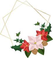 elemento botânico de design de cartão de natal com poinsétia e folhas vetor