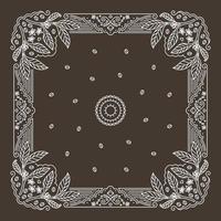 desenho de ornamento estampado bandana com padrão de folha de árvore de café vetor
