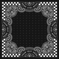 desenho de ornamento estampado bandana com bandeira de corrida vetor