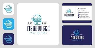 Logotipo do hambúrguer de peixe com design estacionário vetor