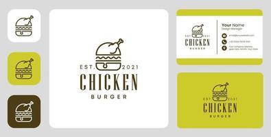 Logotipo do hambúrguer de frango com design estacionário vetor
