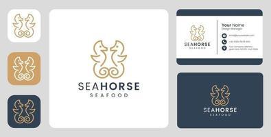 logotipo simples de cavalo-marinho com modelo estacionário vetor