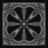 Design de enfeite de bandana paisley com enfeite de crânios abstratos vetor