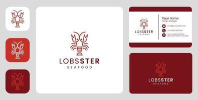logotipo simples de lagosta com modelo fixo vetor