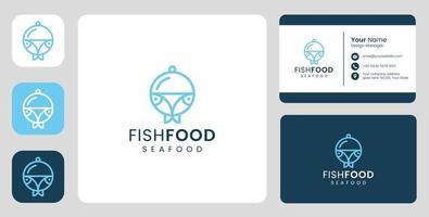 logotipo de peixe simples com modelo estacionário vetor