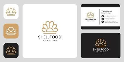 Logotipo simples de marisco de peixe com modelo estacionário vetor