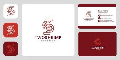 logotipo simples de camarão peixe com modelo estacionário vetor