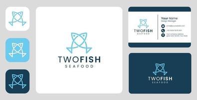 logotipo simples de casal de peixes com modelo estacionário vetor