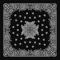 bandana paisley ornamento padrão clássico vintage preto e branco vetor