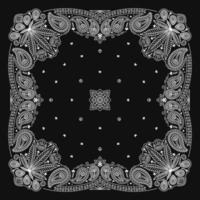 bandana paisley ornament design preto e branco com folha de cannabis vetor