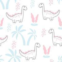 padrão com ilustração vetorial de dinossauros e palmas vetor