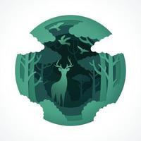animais selvagens de veados com estilo de corte de papel de vetor de floresta ecológica verde