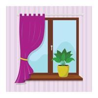 janela com uma cortina lilás e uma planta doméstica no parapeito da janela vetor