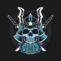 samurai caveira azul com rosas azuis vetor
