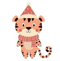 tigre bonito em um inverno chapéu vermelho e lenço. mascote de 2022 vetor