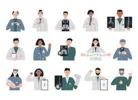 grupo de diferentes especializações médicos isolados vetor