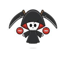 O fofo ceifador do Dia das Bruxas dá uma travessura ou travessura ilustração dos desenhos animados vetor