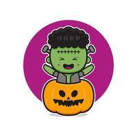 Frankenstein fofo com ilustração do ícone de desenho animado de Halloween de abóbora vetor