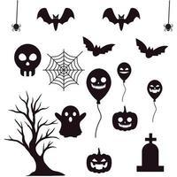 definir silhuetas de ilustração vetorial de halloween. vetor