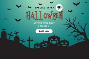 modelo de promoção de banner de oferta especial de halloween vetor
