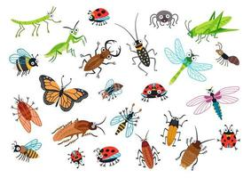 grande conjunto de besouros de desenhos animados. ilustração vetorial. vetor