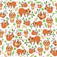 um padrão de vetor de preguiças de desenho animado brilhante infantil