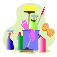 cesto com produtos de limpeza para casa, cozinha. conceito de limpeza. vetor