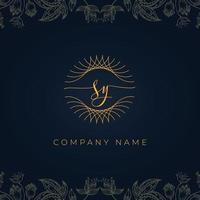 logotipo de sy de letra de luxo elegante. vetor