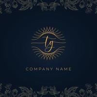 logotipo elegante luxo carta tg. vetor