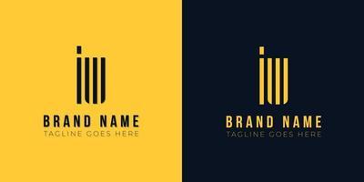 logotipo da iw letra inicial abstrato minimalista. vetor