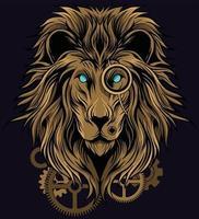 ilustração de leão steampunk vetor