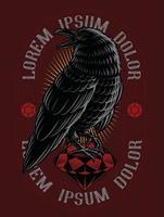 desenho de rubi corvo vetor