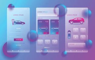 modelo de aplicativo de aluguel de automóveis em design de glassmorphism vetor