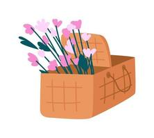 cesta de piquenique com objeto vetorial de cor semi-plana de flores vetor