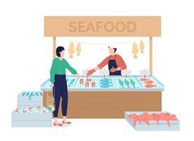 peixeiro sugere frutos do mar frescos com caracteres vetoriais de cor semi-plana vetor