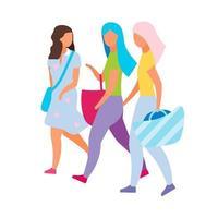 compras com amigos personagens vetoriais de cor semi-plana vetor