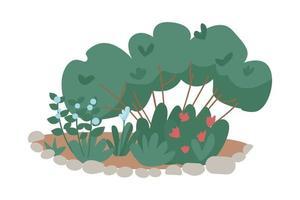 arbustos para jardim de quintal objeto vetorial de cor semi-plana vetor